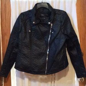 NWT Plus faux leather moto jacket